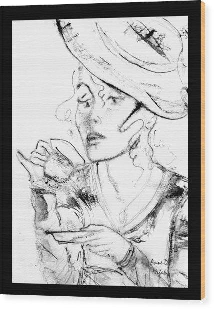 Tea Party Girl Wood Print
