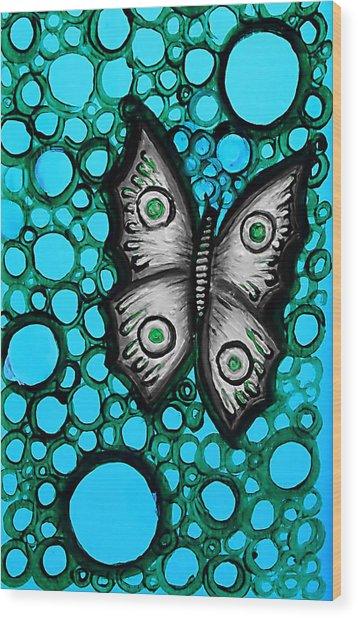Teal Butterfly Wood Print by Brenda Higginson