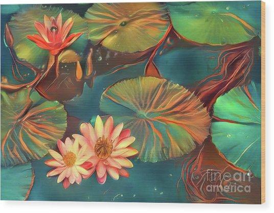 Teal Waterlilies 8 Wood Print