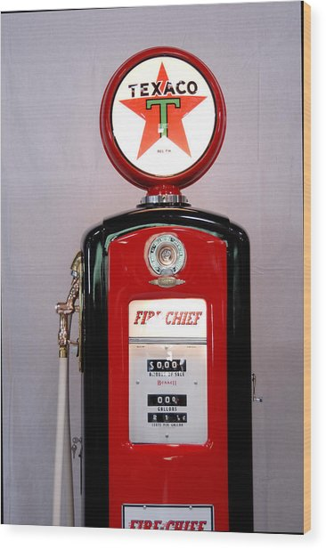 Texaco Gas Pump Wood Print by David Campione