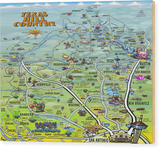 Texas Hill Country Cartoon Map Wood Print