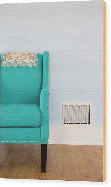 The Blue Chair Wood Print