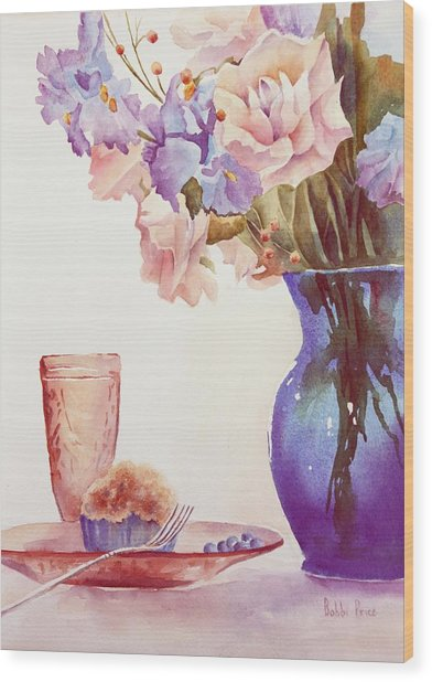 The Blue Vase Wood Print by Bobbi Price
