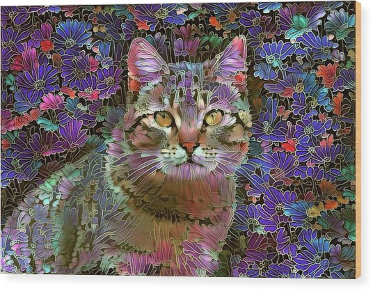 The Cat Who Loved Flowers 2 Wood Print
