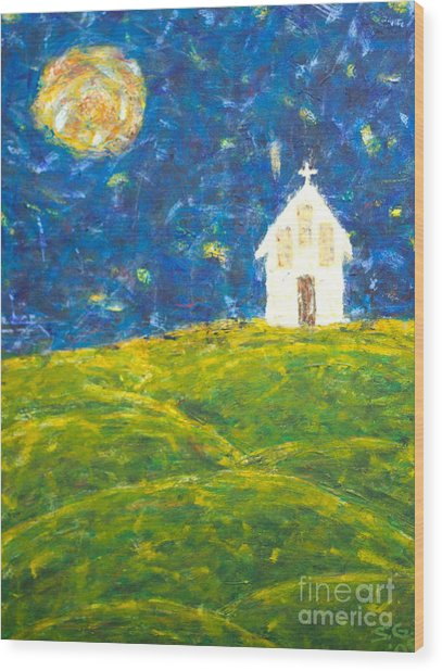 The Church At Newberg Wood Print