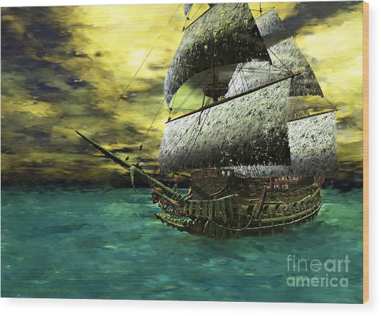 The Flying Dutchman Wood Print by Sandra Bauser Digital Art