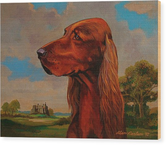 The Irish Setter Wood Print by Alan Carlson