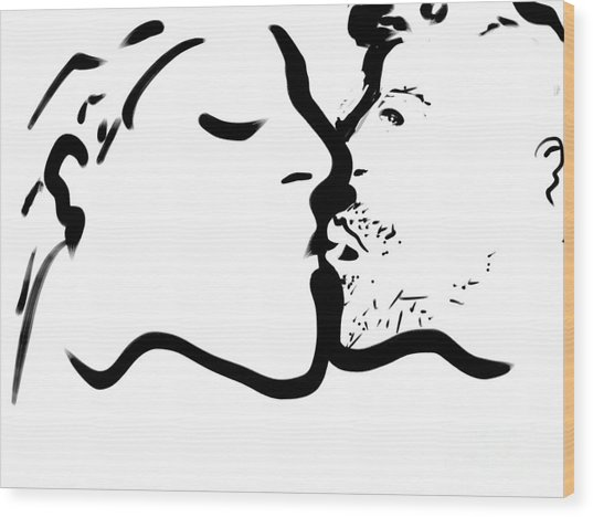The Kiss Wood Print