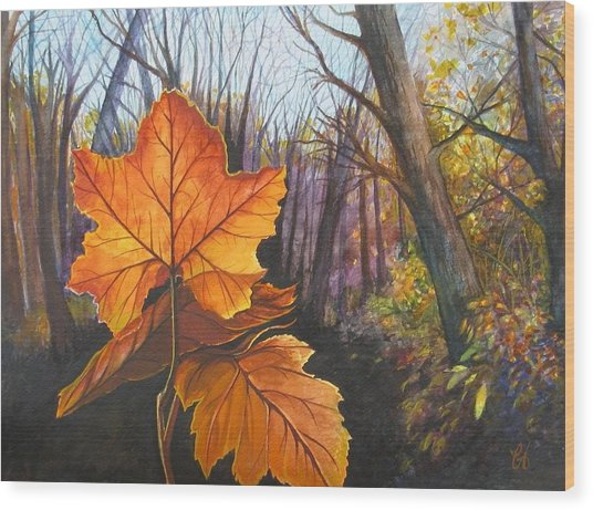 The Last Of Autumn Wood Print by Carrie Auwaerter