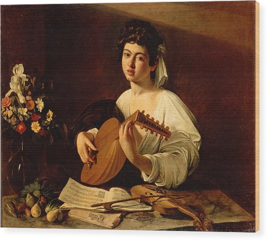 The Lute-player Wood Print