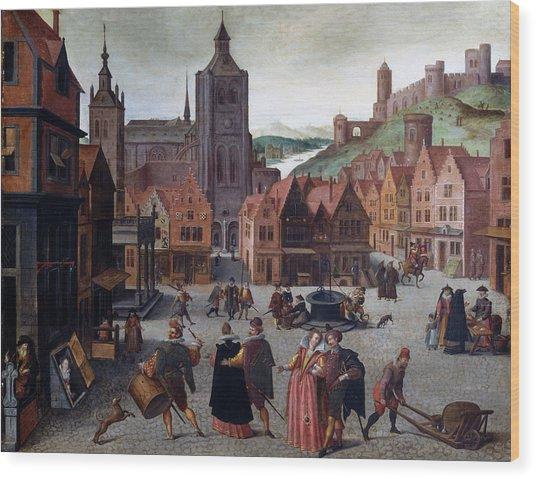 The Marketplace In Bergen Op Zoom Wood Print