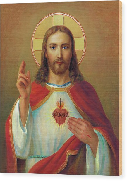 The Most Sacred Heart Of Jesus  Wood Print