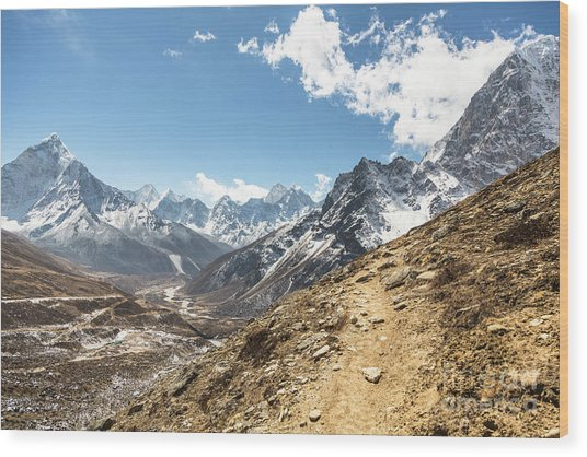 The Path To Cho La Pass In Nepal Wood Print