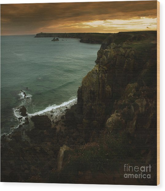 The Pembrokeshire Cliffs Wood Print by Angel Ciesniarska