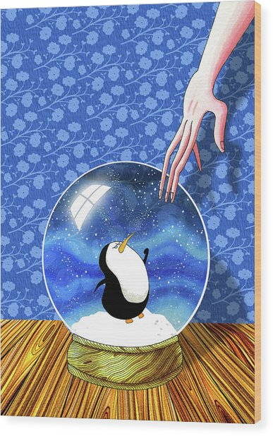 The Penguin Who Didn't Like Snow  Wood Print