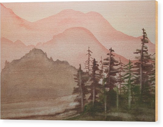 The Pine Trees Wood Print