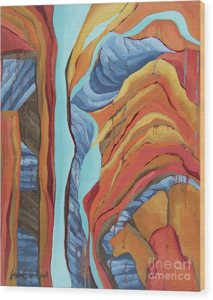 Wood Print featuring the painting The Rocks Cried Out, Zion by Erin Fickert-Rowland