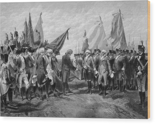 The Surrender Of Cornwallis At Yorktown Wood Print