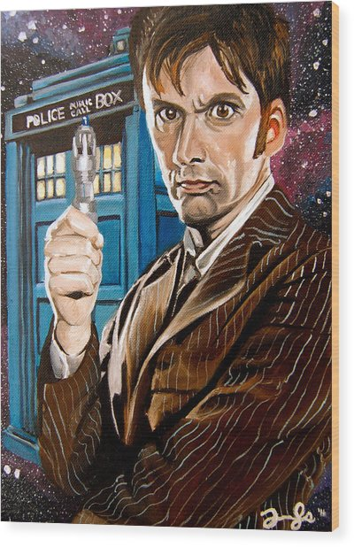 The Tenth Doctor And His Tardis Wood Print by Emily Jones