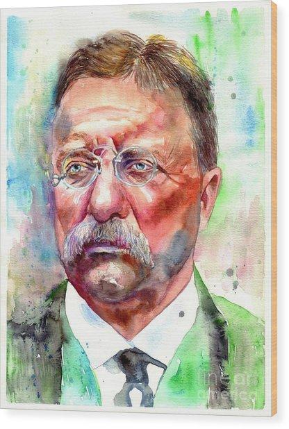 Theodore Roosevelt Watercolor Portrait Wood Print
