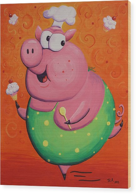 This Little Piggy Baked Cupcakes Wood Print by Jennifer Alvarez