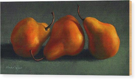 Three Golden Pears Wood Print