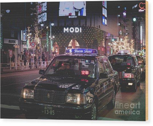 Tokyo Taxis, Japan Wood Print