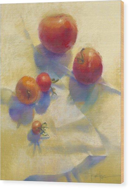 Tomato Blues Wood Print by Cathy Locke