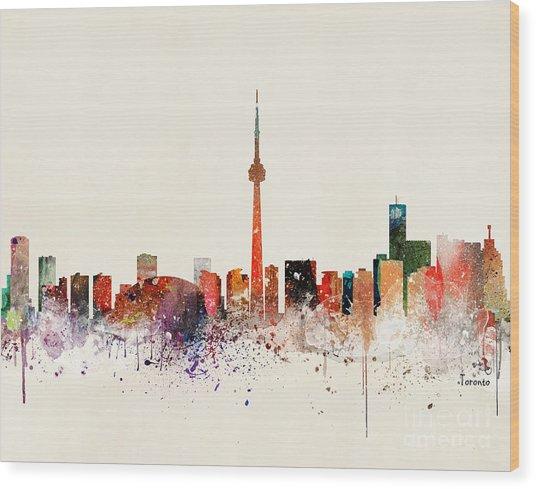 Toronto Skyline Wood Print by Bri Buckley
