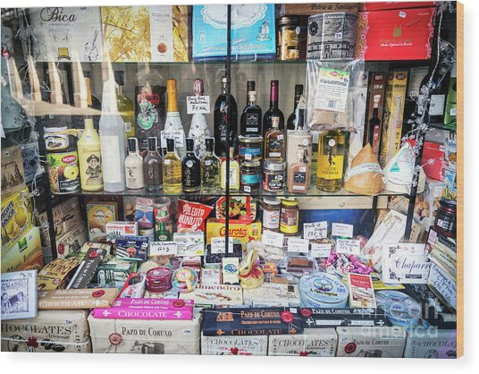 Traditional Spanish Deli Food Shop Display In Santiago De Compos Wood Print