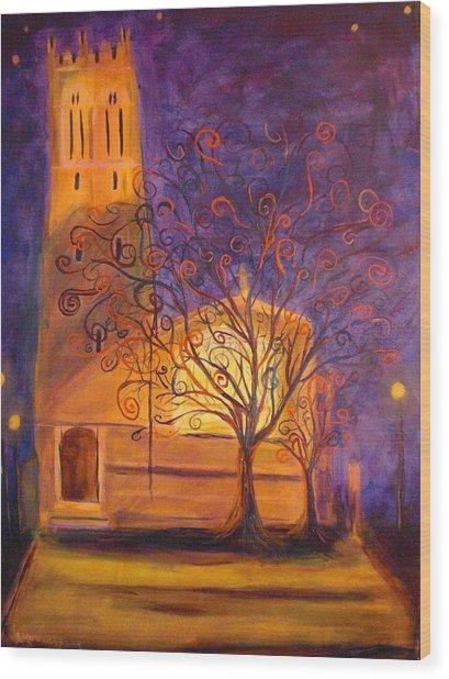 Tree In Ghent Wood Print by Lauren Mooney Bear