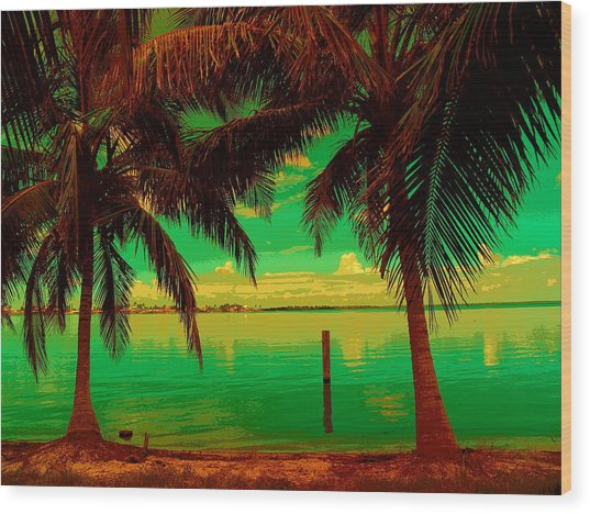 Tropic Nite Wood Print by Florene Welebny
