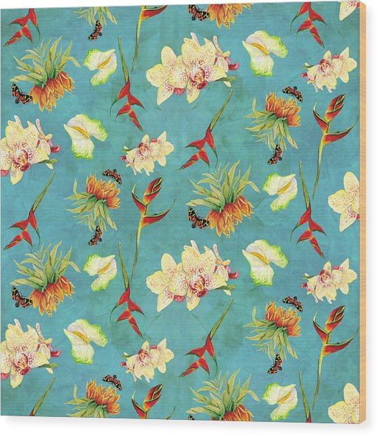 Tropical Island Floral Half Drop Pattern Wood Print