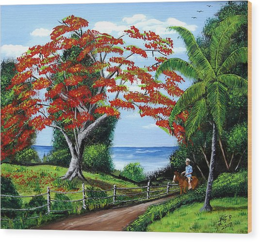 Tropical Landscape Wood Print