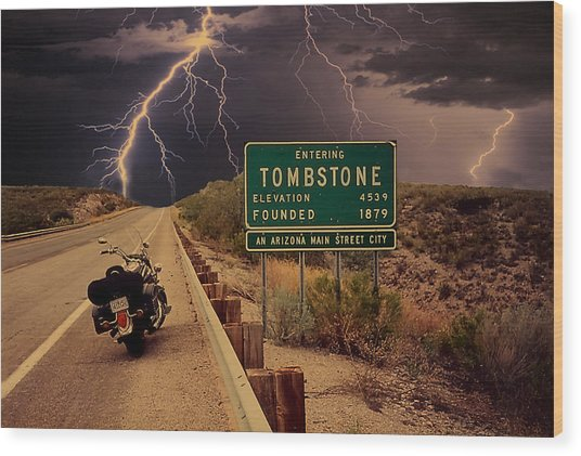 Trouble In Tombstone Wood Print