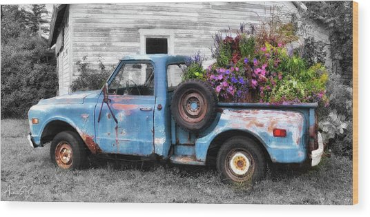 Truckbed Bouquet Wood Print