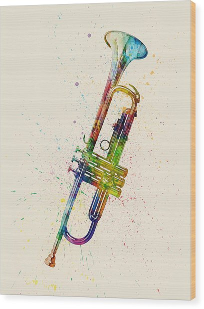 Trumpet Abstract Watercolor Wood Print