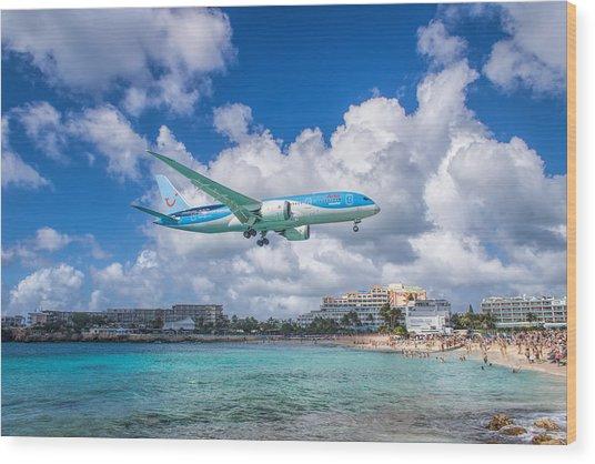 Tui Airlines Netherlands Landing At St. Maarten Airport. Wood Print