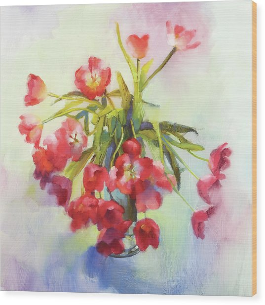 Tulip Fling Wood Print by Cathy Locke