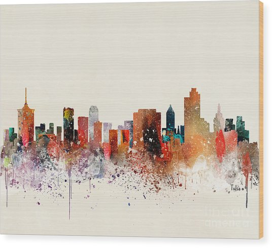 Tulsa Skyline Wood Print by Bri Buckley