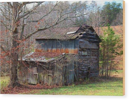 Tumbledown Barn Wood Print