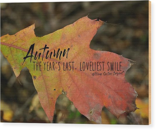 Turn A Leaf Quote Wood Print by JAMART Photography