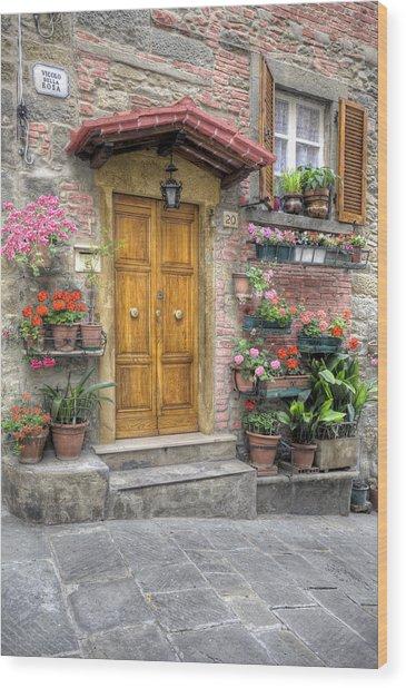 Tuscan Entrance Cortona Wood Print by Al Hurley