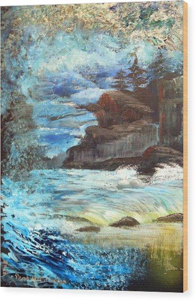 Twilight Cliffs Wood Print