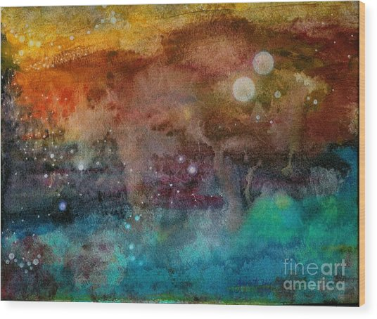 Twilight In The Cosmos Wood Print by Janet Hinshaw