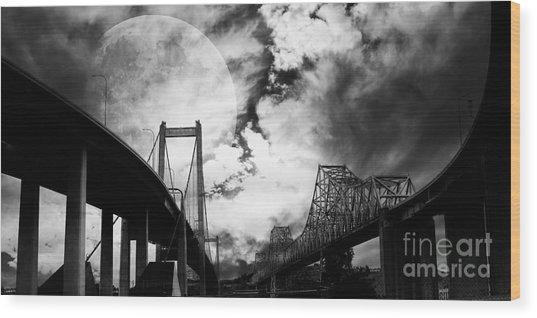 Two Bridges One Moon Wood Print