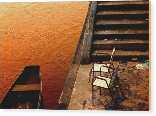 Two Chairs By The Stairs Wood Print