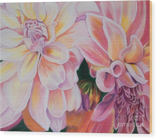 Two Dahlias Wood Print by Lucinda  Hansen