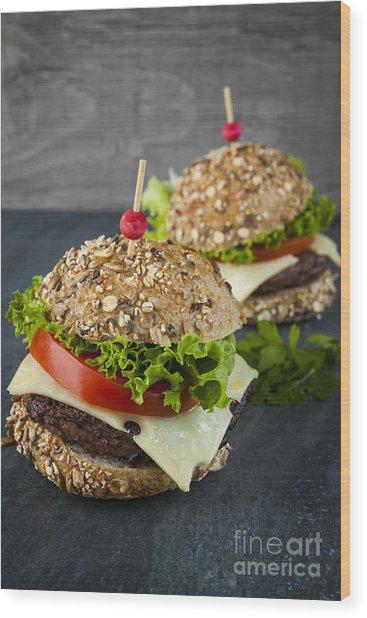 Two Gourmet Hamburgers Wood Print