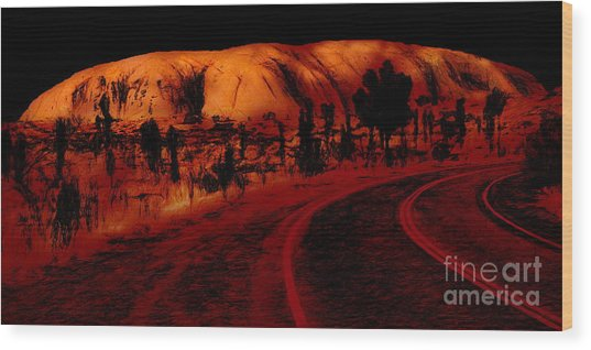 Uluru Sunrise Wood Print